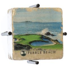 Pebble Beach 7th and 18th Hole Marble Coaster Set by Art and Stone