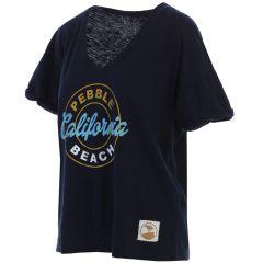 """Pebble Beach Women's """"Nicole"""" V-Neck Tee by Wildcat Retro-Navy-S"""