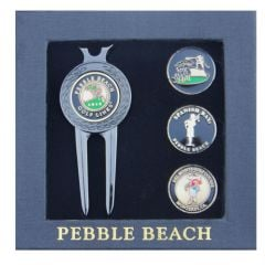 Pebble Beach Four Course Wave Divot Tool & Ball Markers Set