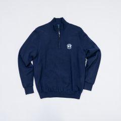 Pebble Beach Men's Baruffa Merino 1/4 Zip Windsweater by Fairway & Greene-Navy-S